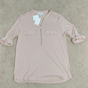Calvin Klein pale pink roll sleeve tee with zipper